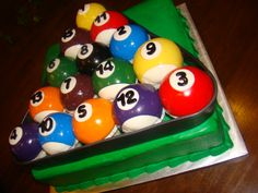 Racked Pool Ball Cake.