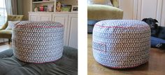 DIY Pouf - The Good Weekly. I made mine smaller then these but followed the directions and they turned out great. Cute for kids rooms