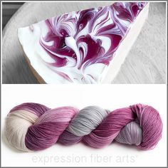 So delicious looking! Sock yarn dyed to match Blackberry Cheesecake. Now I'm hungry!