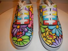 Lady+Bugs+and+Flowers+2+Handcrafted+custom+by+mycoolsneakers,+$40.00 Painted Canvas Shoes, Custom Painted Shoes, Painted Sneakers, Hand Painted Shoes, Painted Clothes, Custom Shoes, Bling Shoes, On Shoes, Doodle Shoes
