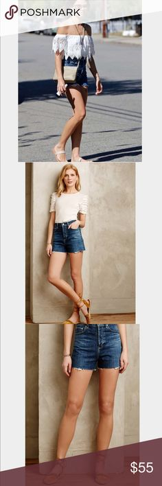 Alexa Chung for AG High Rise Fifi Shorts Cotton, Polyester. Raw Hem Detail. Five-Pocket Styling. Machine Wash. Anthropologie Shorts Jean Shorts