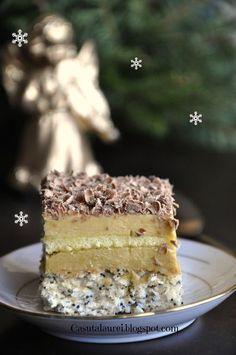 Romanian Desserts, Romanian Food, Just Desserts, Delicious Desserts, Sweet Recipes, Cake Recipes, Tummy Yummy, Something Sweet, Vanilla Cake