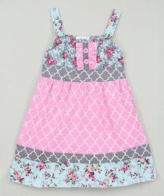 Loving this Pink & Gray Quatrefoil A-Line Dress - Infant, Toddler & Girls on #zulily! #zulilyfinds