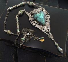 Labradorite Necklace, Labradorite Pendant, Gemstone Pendant, Natural Stone Necklace, Art Nouveau Jewelry, Natural Labradorite Jewelry by KarenTylerDesigns on Etsy
