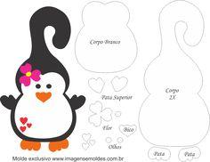 Molde de Pinguim Flor Porta Maçaneta para EVA - Feltro e Artesanato