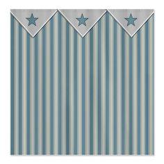 Blue Stripes Fabric Shower Curtain