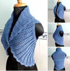 Looking for a crochet short vest pattern? Here's a chic crochet shawl cir-collar vest with ribbed texture, free written pattern in US crochet terms. Diy Tricot Crochet, Crochet Capas, Mode Crochet, Crochet Scarves, Crochet Shawl, Crochet Clothes, Crochet Shrugs, Crochet Sweaters, Crochet Circle Vest