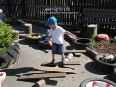 Balancing fun from Learning for Life. another example of use of loose parts. did children come up with this on their own?
