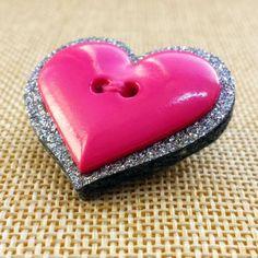 Love Heart Glitter Brooch