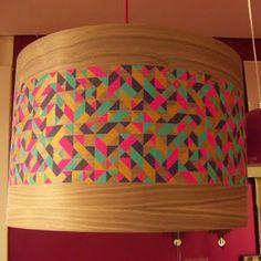 I want this lamp shade from Heals! Design by Sarah Newman. Screen print on walnut veneer.