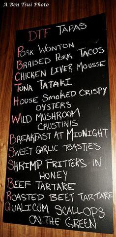 Our new tapas board Wild Mushrooms, Stuffed Mushrooms, Shrimp Fritters, Tuna Tataki, Pork Tacos, Bistros, Roasted Beets, Restaurant Ideas, Scallops