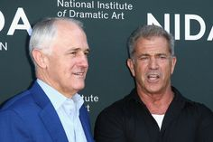 Australian Prime Minister Malcolm Tunbull talks to Mel Gibson ahead of The National Institute of Dramatic Art's new graduate school launch at NIDA on December 6, 2015 in Sydney, Australia.