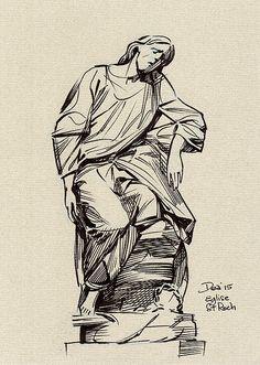 Statue of Jesus in St Roch church in Paris. Jesus Drawings, Sketchbooks, Saints, Coloring, Sketches, Museum, Study, Statue, Paris