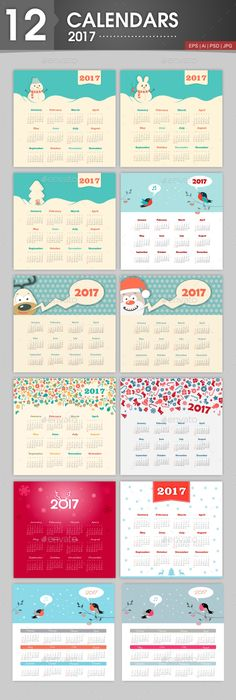 12 Calendars 2017 With a Christmas Theme. Week starts from Sunday
