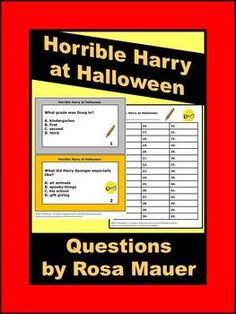 Horrible Harry at Halloween by Suzy Kline: Receive 45 multiple choice questions in task card format with a response form for students. Text is also given in worksheet format with lines for student response. Answers are provided for the teacher. Products you might like: