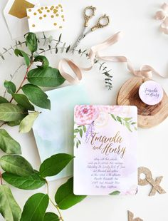 floral peony calligraphy wedding invites | Smitten on Paper