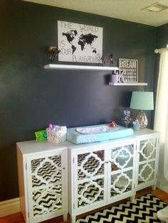 Modern black, white, metallic and mint baby nursery!