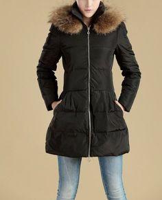 4d64da26e01e4 Black coat Woman coats LADY Winter coat fur collar by SJL2012