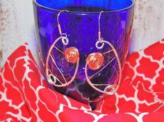 Drop Earrings Sterling Silver Natural Copper by STFDoorDesigns