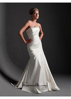 Beautiful Elegant Exquisite Mermaid/trumpet Strapless Taffeta Wedding Dress In Great Handwork