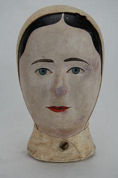 CIRCA 1830 MILLINER'S HEAD - MILLINERY - MANNEQUIN - MAROTTE - EXCEPTIONAL