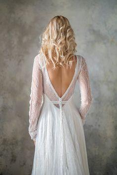 Long Sleeve boho wedding dress bohemian wedding dress lace