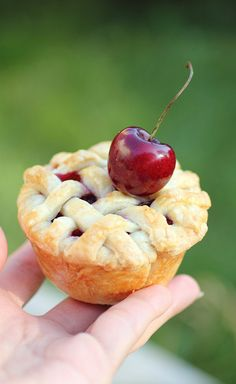 Mini cherry pies made in a cupcake pan. So pretty !!