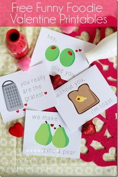 Free Funny Foodie Valentine Printables by the Crafty Cupboard: fold-over cards or flat cards options- SO cute!