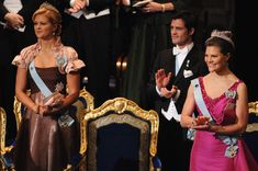 Princess Madeleine Photos - (L-R) Princess Madeleine of Sweden, Prince Carl Philip of Sweden and Crown Princess Victoria of Sweden applaud during the Nobel Foundation Prize 2008 Awards Ceremony at the Concert Hall on December 10, 2008 in Stockholm, Sweden.  (Photo by Pascal Le Segretain/Getty Images) * Local Caption * Princess Madeleine of Sweden;Prince Carl Philip of Sweden;Crown Princess Victoria of Sweden - Nobel Prize Award Ceremony 2008