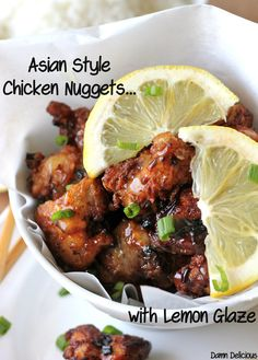 Asian Style Chicken Nuggets with Lemon Glaze - Damn Delicious. A fun twist on the traditional version with a sweet, tangy lemon glaze that is out of this world! Think Food, I Love Food, Food For Thought, Good Food, Yummy Food, Tasty, Chicken Nuggets, Chicken Wings, Chicken