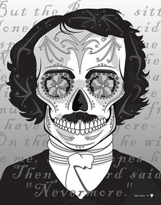 """Nevermore"" Edgar Allan Poe Sugar Skull Print Print feature a paragraph from his famous ""The Raven"" Poem"