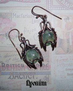 Серьги с пренитом выполнены из патинированной меди в технике wire wrap. Prehnite earrings made of patinated copper in wire wrap technique. Art, Jewelry, Art Background, Jewlery, Jewerly, Kunst, Schmuck, Jewels, Performing Arts