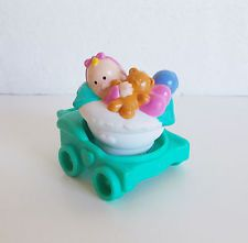 Fisher Price Little People ~ Baby in Turquoise Stroller Holding Teddie Bear