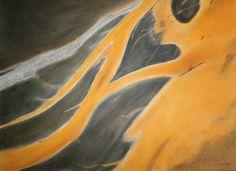 Fluss auf dem Candeyar-Sander Island, Pastell auf Papier, BxH 48x36cm