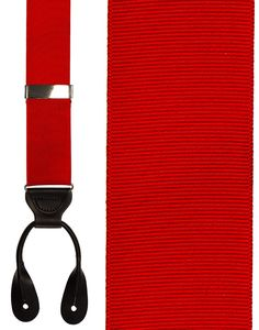 Red Grosgraine Ribbon Suspenders (Button Ends)
