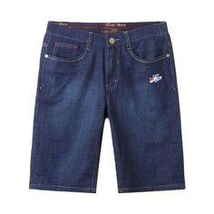 New Designer Mid Waist Mens Denim Summer Shark Shorts High Quality Leisure Summer Short Casual Cotton Solid Pattern Knee Length