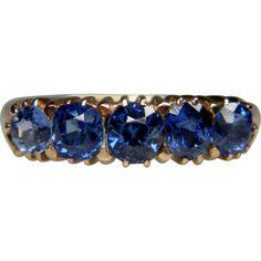 Antique Ceylon Sapphire Five Stone Ring