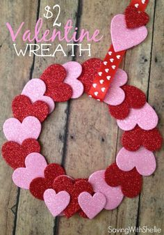 Easy Valentine Crafts for Home Decorations or DIY Valentine Gifts. Wreath for Valentines Day made with Hearts Easy Valentine Crafts for Home Decorations or DIY Valentine Gifts. Wreath for Valentines Day made with Hearts Diy Valentines Day Wreath, Easy Valentine Crafts, Valentines Day Decorations, Holiday Crafts, Kids Valentines, Party Crafts, Office Decorations, Valentine's Home Decoration, Valentines Breakfast
