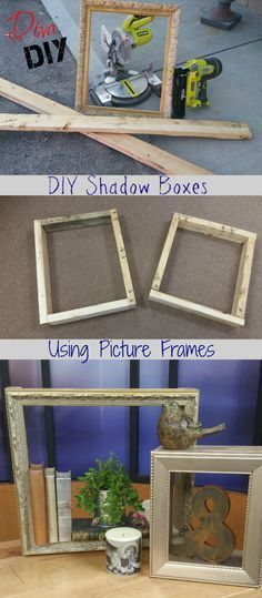A DIY Shadow Box that utilizes picture frames!<br> This DIY Shadow Box photo frame is so easy you'll want to make one for every room! Make everyone their own shadow box frame with this tutorial. Shadow Box Picture Frames, Cute Picture Frames, Picture Frame Crafts, Shadow Frame, Shadow Box Memory, Diy Shadow Box, Diy Frame, Box Frame Ideas Diy Crafts, Box Frame Art