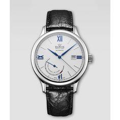 Marvin Malton Round Croc-Strap Watch, Blue/White $2400