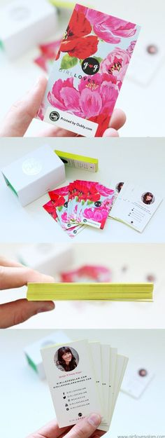 Pretty Floral Business Cards With Bright Yellow Edge Painting