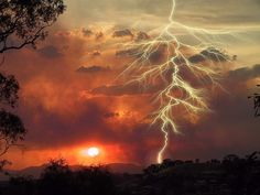 Lightning at sunset.  Source unknown, please post if you know it.