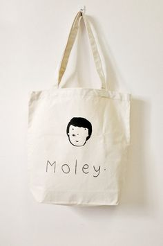 MOLEY  school library or shopping tote bag by Gewwybeans on Etsy, $28.00