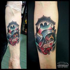 Toni Donaire - blue cat tattoo