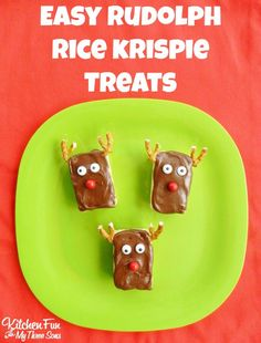 Easy Rudolph Rice Krispie Treats...takes just a few minutes to make & great for class parties at school! KitchenFunWithMy3Sons.com