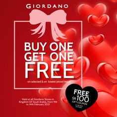Stay In Love With Giordano KSA's Buy 1 Get 1 Free & Free SR 100 Gift Coupon @ all stores. إبق بالحب مع #جيوردانو ❣️ #السعودية وعرض 1&1 مجاناً مع قسيمة 100 ريال المجانية لدى متاجرنا الآن Gift Coupons, Buy One Get One, Highlights, Gifts, Free, Presents, Luminizer, Hair Highlights, Favors