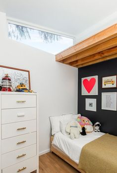 Raising the roof allowed for higher ceilings in the kids' rooms and created an additional loft that they can use as a play space. #dwell #moderndesign #beforeandafter #homerenovations Stylish Beds, Yoga At Home, Level Homes, Kids Room Design, Modern Kids, Cozy House, Home Renovation, Modern Design, Architecture