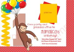 Curious George Birthday Invitation, Digital (you print). $8.00, via Etsy.