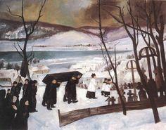 István Szőnyi (Hungarian, Funeral in Zebegény, Oil on canvas, x cm. Artist Life, Hanging Art, Hetalia, Hungary, Funeral, Oil On Canvas, Buddha, Cool Art, Gallery