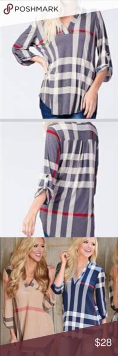 Navy Plaid High-Low Top Feels amazing! Perfect for any occasion! Runs TTS! Tops Blouses